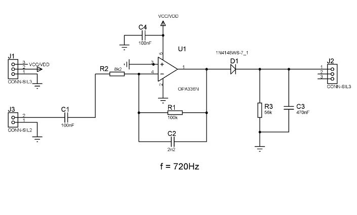 electronic circuit envelope filter OPA336